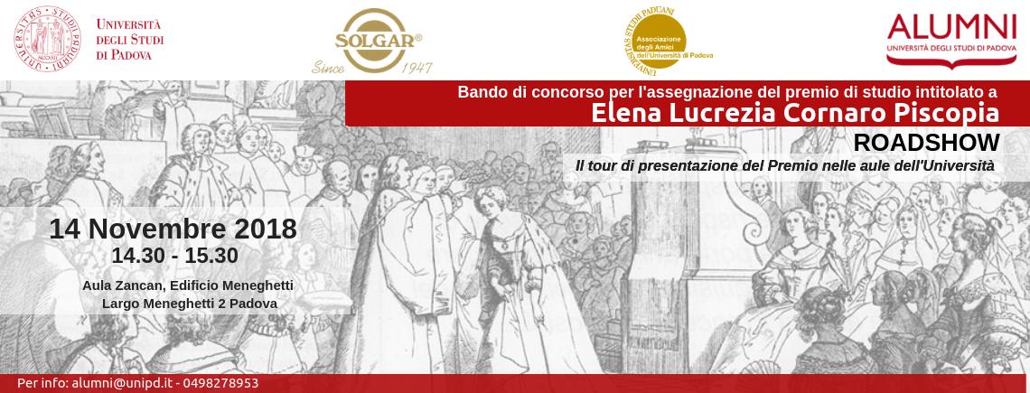 1° incontro Roadshow Bando di concorso per l'assegnazione del Premio di studio intitolato a Elena Lucrezia Cornaro Piscopia   Esperienze di donne: conoscenza e valore