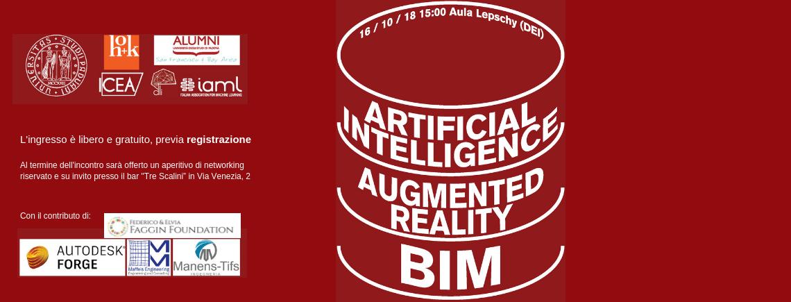 """Progettazione civile, realtà aumentata e intelligenza artificiale. Incontro in Aula Magna DEI """"A. Lepschy """" martedì 16/10/18"""