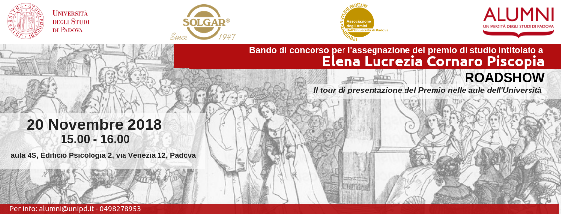 2° incontro Roadshow Bando di concorso per l'assegnazione del Premio di studio intitolato a Elena Lucrezia Cornaro Piscopia | Esperienze di donne: conoscenza e valore