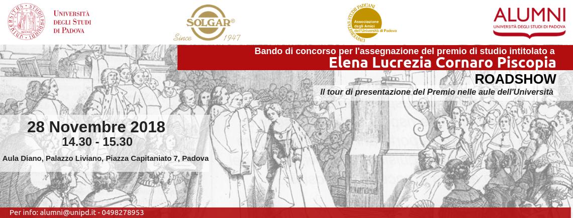Ultima tappa del Roadshow Bando di concorso per l'assegnazione del Premio di studio intitolato a Elena Lucrezia Cornaro Piscopia | Esperienze di donne: conoscenza e valore