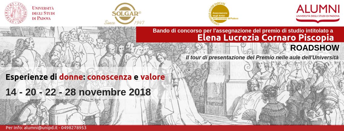 Roadshow Bando di concorso per l'assegnazione del Premio di studio intitolato a Elena Lucrezia Cornaro Piscopia