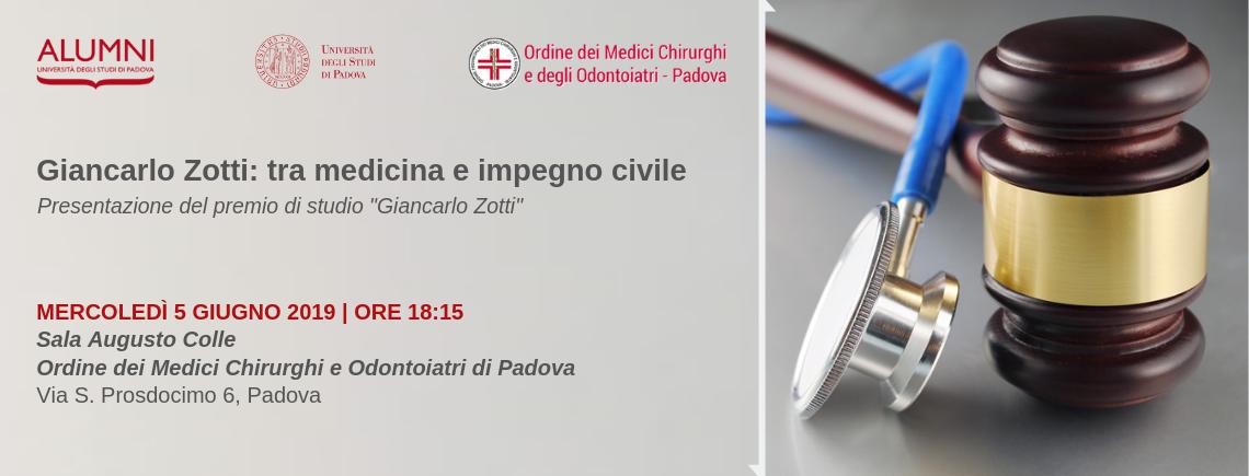 """Evento di lancio del premio di studio """"Giancarlo Zotti"""" – 5/06/2019"""